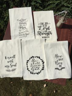 Items similar to Set of 6 Flour Sack Scripture Hymn Tea Towels on Etsy Flour Sack Scripture Hymn Tea Towels set of 5 Towel Embroidery, Machine Embroidery, Embroidery Ideas, Dish Towels, Hand Towels, Diy Tea Towels, Cute Christmas Ideas, Xmas Ideas, Christmas Crafts