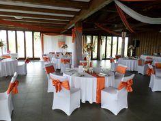 Narancs és fehér esküvő dekoráció  Orange and white wedding decoration