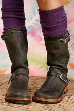 Beautiful boots, purple socks!