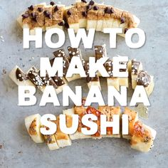 If you're a mom or dad (or just a big kid) looking for a healthy, fun snack for the kids, you're going to love this banana sushi made with a perfectly ripe banana, your favorite nut butter, and crunchies on top! Recipes for kids Banana Sushi Fun Snacks For Kids, Healthy Meals For Kids, Kids Meals, Healthy Snacks For Kids On The Go, Snacks For School, Healthy Crunchy Snacks, Healthy Summer Snacks, Healthy Breakfast For Kids, Healthy Toddler Snacks