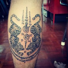 #Yant suea koo#traditional thai bamboo tattoo  # by Bangkok ink tattoo studio#