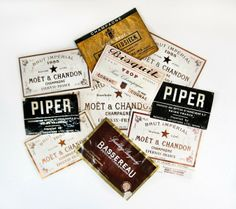 Ten Vintage French Champagne Bottle Labels