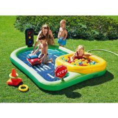 Tesco giant airflow bouncy castle pool little boy for Garden pool tesco
