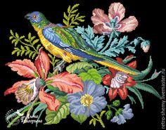 Купить или заказать Схема вышивки 'Райский попугай' в интернет-магазине на Ярмарке Мастеров. Авторская реконструкция старинной схемы для вышивания крестом 1811-1848 годов по старинному, раскрашенному вручную бумажному шаблону. Издательство Н.F. Muller. К схеме прилагается ключ в цветовой палитре ниток DMC, а также возможные размеры готовой вышивки на 14, 16, 18 и 25 канве. Схема в электронном виде, в формате PDF. Можно заказать цветной или черно-белый вариант схемы по вашему жела…