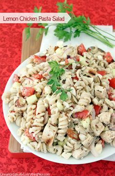 A Greek inspired pasta salad with bright and sunny flavors!