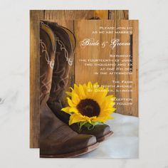 Country Sunflower Western Wedding Invitation Western Wedding Invitations, Sunflower Wedding Invitations, Engagement Party Invitations, Bridal Shower Invitations, Birthday Invitations, Quince Invitations, Sunflower Weddings, Prom Invites, Engagement Parties