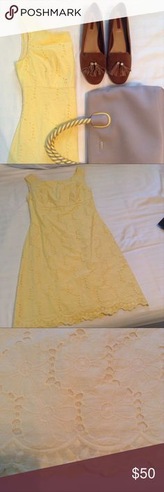 Lilly Pulitzer Yellow Lace Mini Dress Excellent condition. Mid-thigh length, low back, fit and flare silhouette, flower lace, and scalloped hem. True to size. Price is firm Lilly Pulitzer Dresses Mini