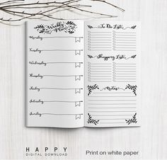Midori Traveler's Notebook Weekly Planner Inserts - Printable Bullet Journal