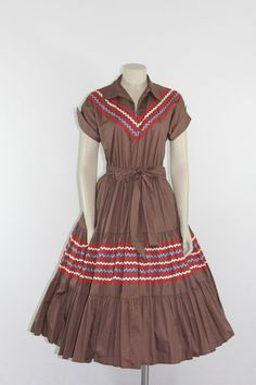 1960s Vintage Patio Dress Brown Squaw Cotton Circle Skirt Frock $120.00 by VintageFrocksOfFancy