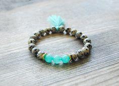 Mala bracelet dalmatian jasper tassel bracelet by IskraCreations