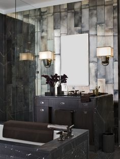 Bill Sofield Design.   Hot masculine. Love the wall treatment combined with mirrored wall.
