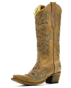 want to wear these at my reception!!    Women's Tan Floral Turquoise Inlay Boots - A1952