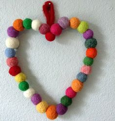Needle Felted Heart Wreath  Felted Wool Ball by GenerationJane, $33.00