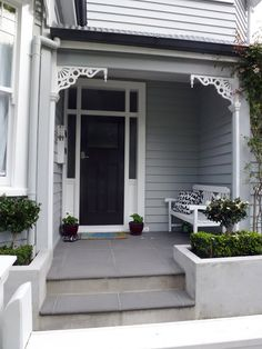 Grey White And Black Exterior Colour Weatherboard House Queenslander Front Doors