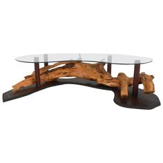 Unique Mid-Century Modern Rustic Driftwood Coffee Table