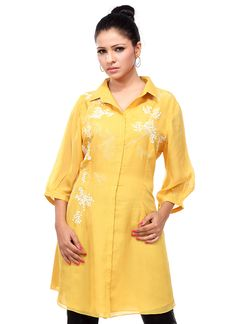 #Yellow Colored Casual #Tunic