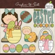 Happy Easter Kids 1 - Whimsical Clip Art by Alice Smith