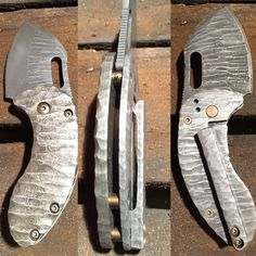 Another Damascus Boker Nano, fully customised with Damascus scale and pocket clip. Scale, frame, blade and clip all rock patterned and acid washed, bronzed hardware.