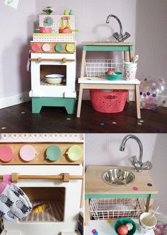 Let's DIY! A lovely play kitchen for my daughter's birthday: the oven - 2nd hand bargain - was unpainted. I placed this cute Djeco kitchenette on top to create a whole stove by painting the oven in Djeco colors. It only took a 2nd handed crane, a small mixing bowl, paint leftovers and a wire basket to hack Ikea BEKVÄM step tool into a complete countertop. Finishing touch: I placed an adhesive clickable light in the oven and also made mini oven mittens and a mini dishcloth.