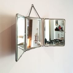 French Vintage Tri-Fold Barbers Mirror