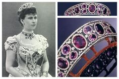The Queen Mary of Teck (Victoria Mary Augusta Louise Olga Pauline Claudine Agnes) (1867-1953) Germany, Amethyst Tiara.  Wife of King George V (George Frederick Ernest Albert) (1865-1936), UK.
