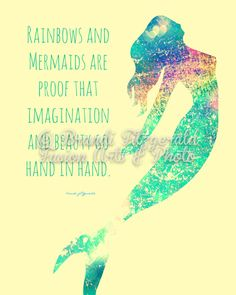 Rainbows and Mermaids Inspirational Quote Bold by BrandiFitzgerald, $19.99