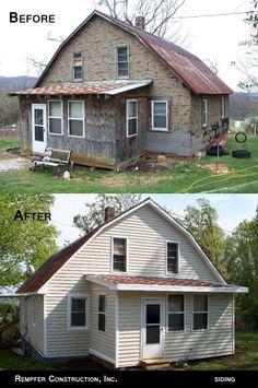 Rempfer Construction, Inc. Siding Before & After Shed, Outdoor Structures, Construction, Cabin, House Styles, Remodeling, Projects, Home Decor, Building