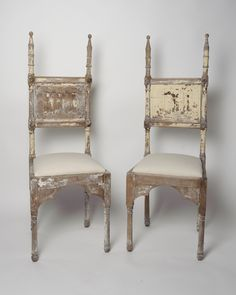 Unusual pair of antique French throne chairs, original paint