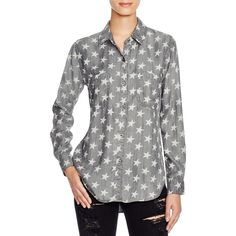 Rails Chambray Star Shirt - Bloomingdale's Exclusive ($145) ❤ liked on Polyvore featuring tops, charcoal, star print shirt, shirts & tops, chambray top, star print top and chambray shirt
