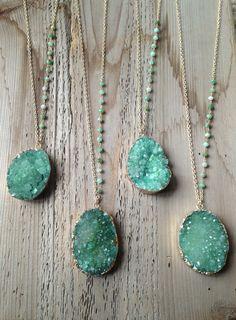 Rough Green Druzy Necklaces with Chrysoprase Stone by joydravecky, $85.00