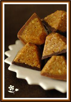 Bouchées d'avoine, caramel au beurre salé, chocolat noir & lait