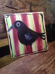 Black Crow Rustic Folk Art Painting Whimsy Art OOAK A Gambrel Rustic | eBay