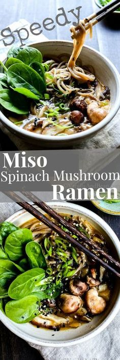 A fast and hearty weeknight dinner. Speedy Miso Spinach Mushroom Ramen is packed with ginger, garlic, shiitake and oodles of soba noodles! Vegan + Optionally GF