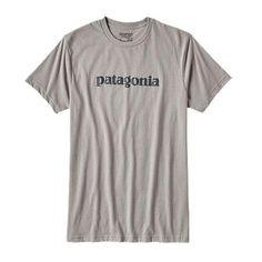Patagonia Men's Text Logo Cotton/Poly T-Shirt Drifter Grey Sport T Shirt, Tshirts Online, Patagonia, Graphic Tees, Sports, Mens Tops, Clothes, Logo, Organic Cotton