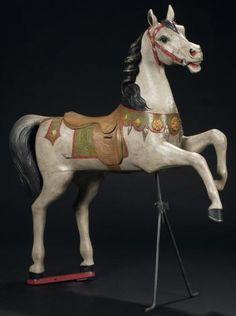 Gustave BAYOL Rearing horse - Painted carved wood. Cheval cabré Bois sculpté peint France, école d'Angers, vers 1905