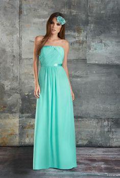 bari jay long mint green tiffany blue strapless bridesmaid dress fall 2013