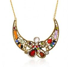Flower shape necklace crystal pendant necklace female