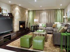 Zöld-szürke-bézs nappali - nappali ötletek, modern stílusban