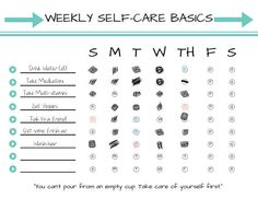 D.I.Y Weekly Self-Care Basics Chart (PRINTABLE - INSTANT DOWNLOAD): Self Care • Radical Self Love •
