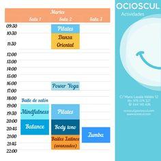 Actividades de hoy martes: #DanzaOriental #PowerYoga #Mindfulness #Pilates #Balance #BodyTono #Zumba #BailesLatinos  mas info en ocioscul.com