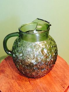 Vintage / Mid Century forest green glass water pitcher by VintageVixens1 on Etsy