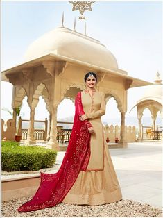 Prachi Desai Beige Georgette Satin Lehenga with Silk Jacquard Palazzo Style Suit. This suit is adorned with zari and thread embroidery and stone work. Comes with a Red color matching dupatta. Prachi Desai, Palazzo Style, Stone Work, Lehenga, Red Color, Satin, Beige, Embroidery, Silk