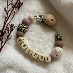 Speenkoorden met naam   Baby Jewellery Teething Necklace, Beaded Bracelets, Leather, Jewelry, Fashion, Moda, Jewlery, Jewerly, Fashion Styles