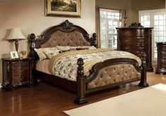 Furniture of America Monte II Dark Brown Leatherette Bed with Flora Motif, Eastern King, Dark Walnut Furniture of America http://www.amazon.com/dp/B00IM7DXA2/ref=cm_sw_r_pi_dp_6D9Awb0BCXY87