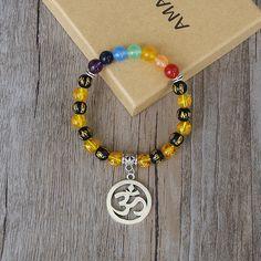 Handmade OM Mala Chakra Bracelet Buddha Six Words of Mantra Yoga Healing Prayer Mala Charm Strand Bracelet Pulsera De Cuentas #Affiliate