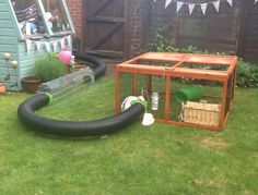 runaround.co.uk tunnels for joining runs to housing - bunnies love them plus you can move the runs around on the grass.  This run, in itself, is not very large but it connects to a large shed via a long tunnel giving plenty of other space for the bunnies to scamper around.
