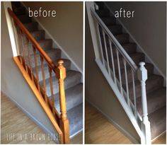 Updated, Fresh Banister Makeover – A Brown House Painted Stair Railings, Painted Staircases, Painted Stairs, White Banister, Stair Banister, Banisters, White Staircase, Foyers, Banister Remodel