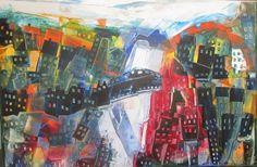 Max Müller Öl/LW wilde Stadt  80x120cm - Kunstakademie Düsseldorf Kunst art