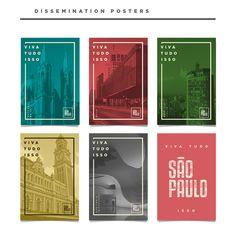 """cartazes - achei bacana a ideia de utilizar fotos de prédios """"antigos"""" com cores e pouco texto, saindo da linha do clássico."""