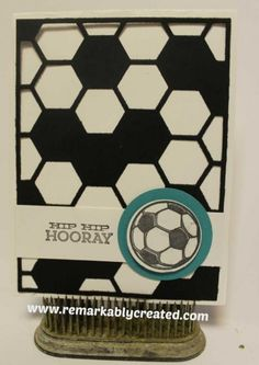 Stampin Up Hexagon Hive thinlits die football - soccer card